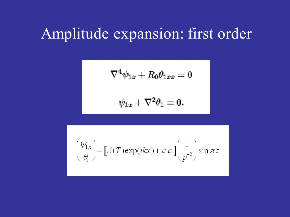 Amplitude expansion: first order