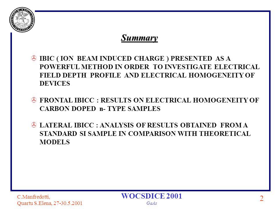 C.Manfredotti, Quartu S.Elena, 27-30.5.2001 3 WOCSDICE 2001 GaAs pre-amplifier Schottky contact ohmic contact (frontal irradiation) 2 MeV proton microbeam 0.