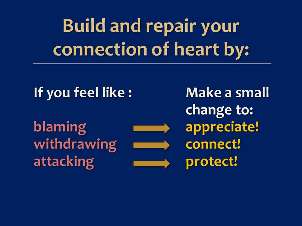 Build and repair your connection of heart by: Build and repair your connection of heart by: If you feel like : blaming withdrawing attacking If you feel like : blaming withdrawing attacking Make a small change to: appreciate.