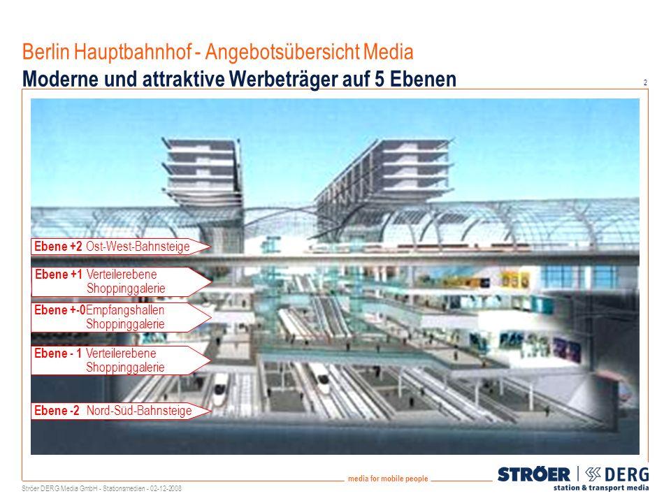2 media for mobile people Berlin Hauptbahnhof - Angebotsübersicht Media Moderne und attraktive Werbeträger auf 5 Ebenen Ebene +2 Ost-West-Bahnsteige Ebene +-0 Empfangshallen Shoppinggalerie Ebene -2 Nord-Süd-Bahnsteige Ebene +1 Verteilerebene Shoppinggalerie Ebene - 1 Verteilerebene Shoppinggalerie Ströer DERG Media GmbH - Stationsmedien - 02-12-2008