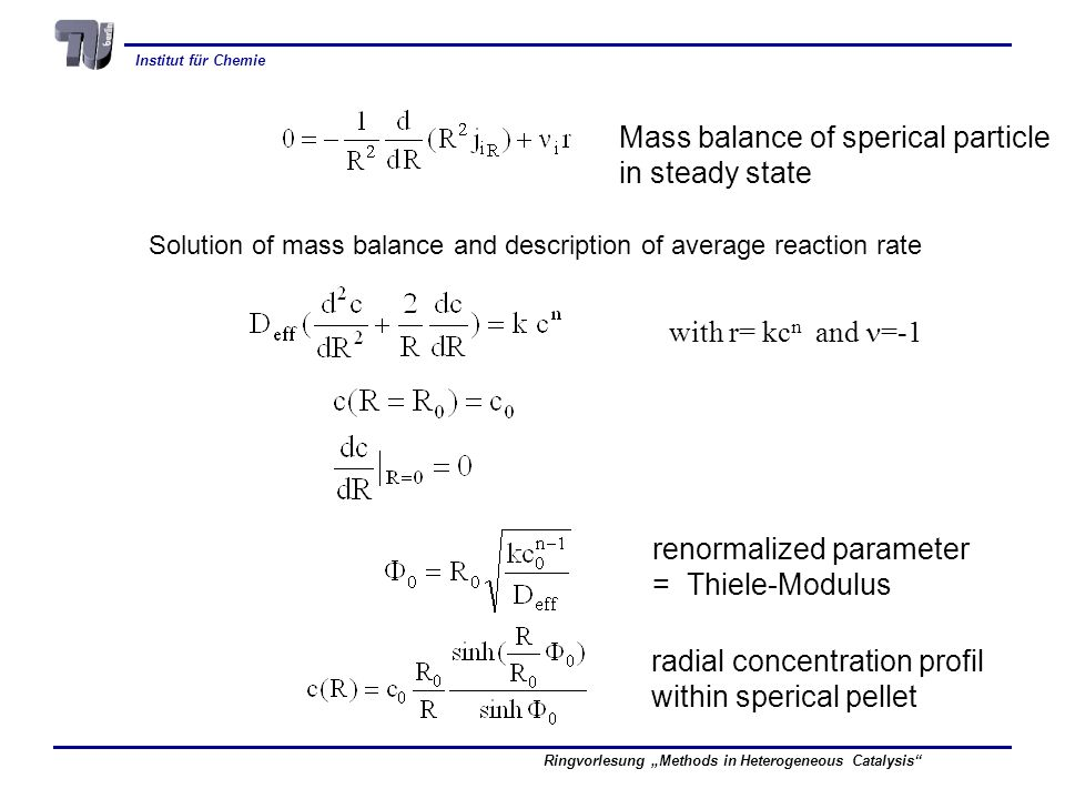 Institut für Chemie Ringvorlesung Methods in Heterogeneous Catalysis Mass balance of sperical particle in steady state Solution of mass balance and de