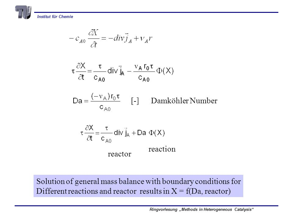 Institut für Chemie Ringvorlesung Methods in Heterogeneous Catalysis [-] Damköhler Number reactor reaction Solution of general mass balance with boundary conditions for Different reactions and reactor results in X = f(Da, reactor)