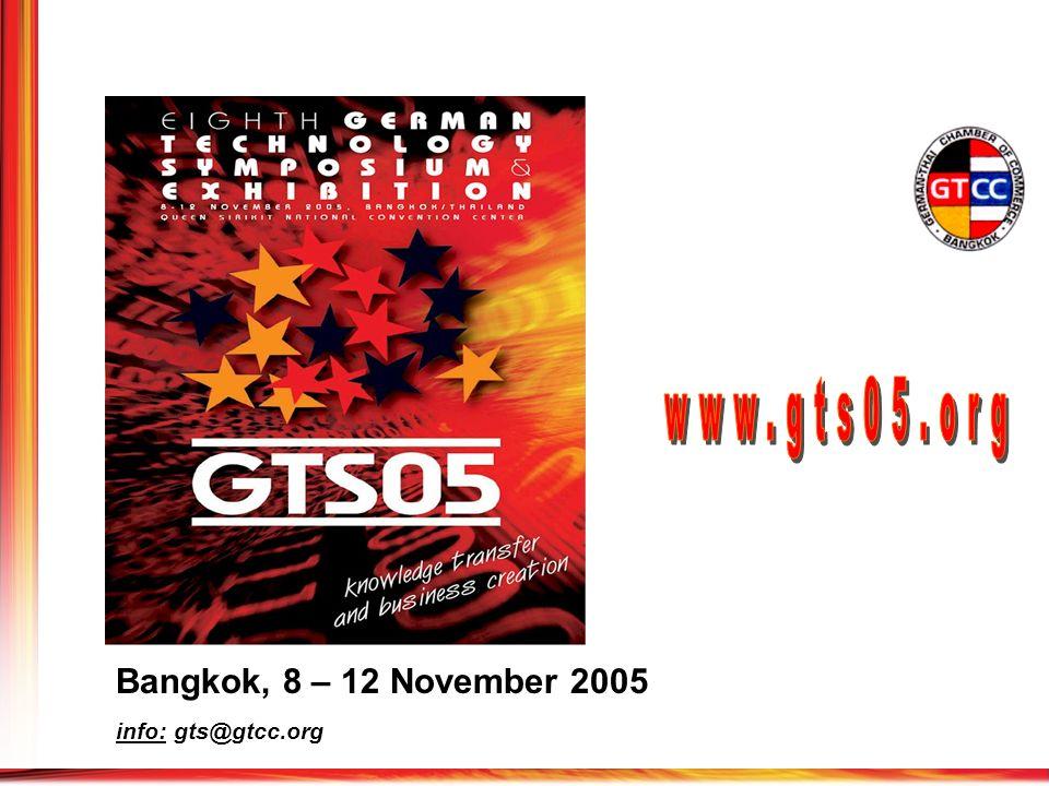 Bangkok, 8 – 12 November 2005 info: gts@gtcc.org