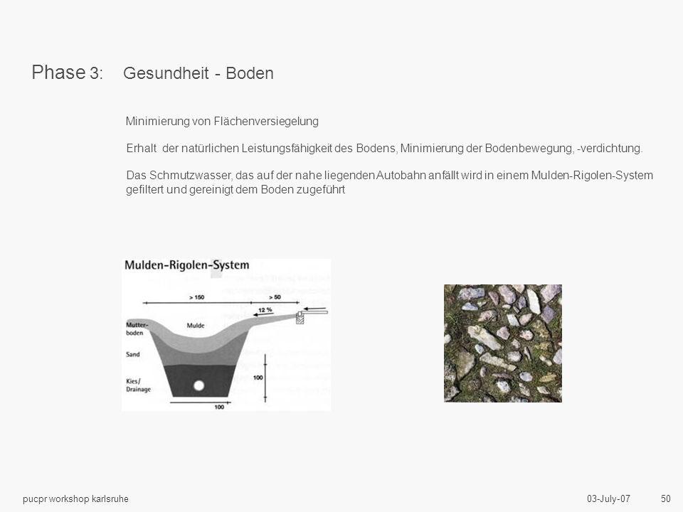 03-July-07pucpr workshop karlsruhe 50 Minimierung von Flächenversiegelung Erhalt der natürlichen Leistungsfähigkeit des Bodens, Minimierung der Bodenbewegung, -verdichtung.