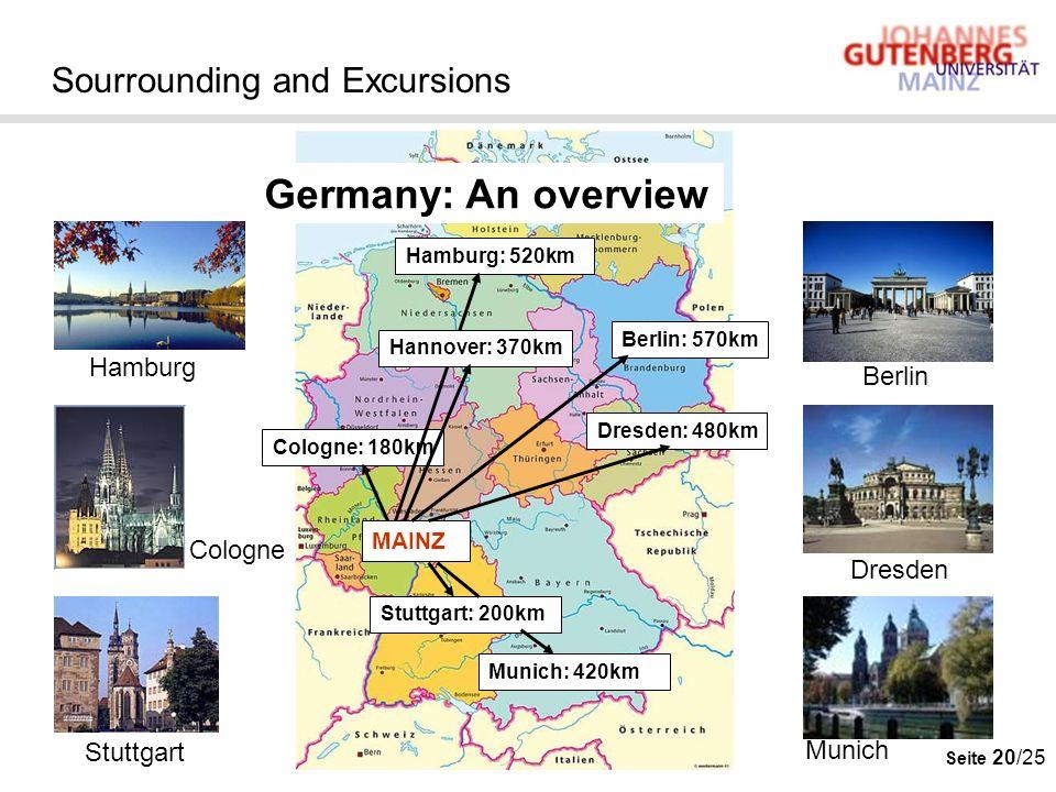 Seite 20/25 Sourrounding and Excursions Hamburg: 520km Berlin: 570km Cologne: 180km MAINZ Munich: 420km Stuttgart: 200km Germany: An overview Dresden: