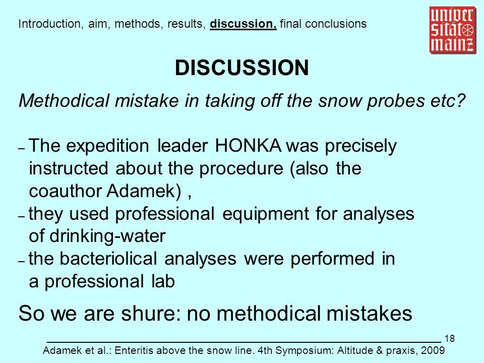 18 ___________________________________________________________ Adamek et al.: Enteritis above the snow line. 4th Symposium: Altitude & praxis, 2009 DI