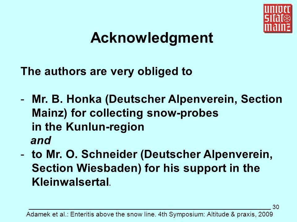 30 ___________________________________________________________ Adamek et al.: Enteritis above the snow line. 4th Symposium: Altitude & praxis, 2009 Ac