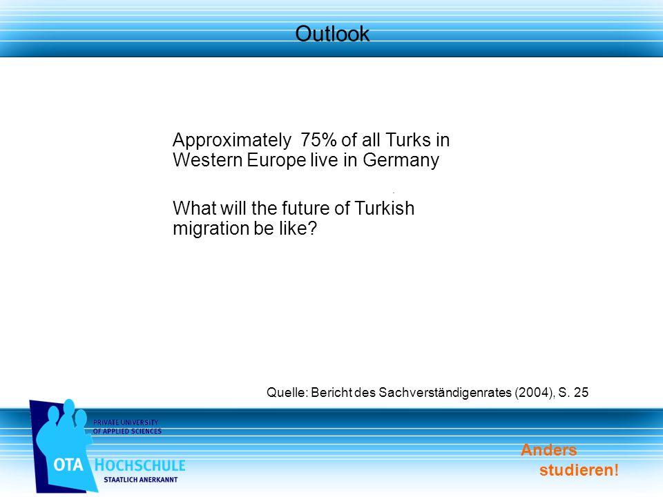 Anders studieren. Outlook Quelle: Bericht des Sachverständigenrates (2004), S.