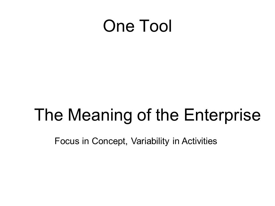 One Tool The Meaning of the Enterprise Focus in Concept, Variability in Activities