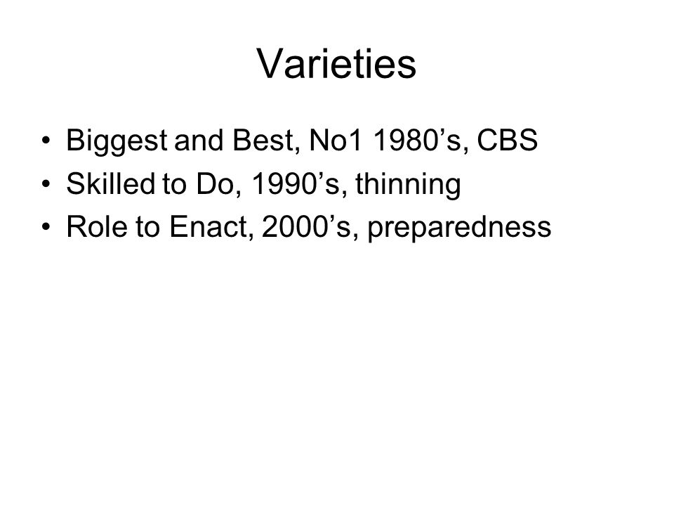 Varieties Biggest and Best, No1 1980s, CBS Skilled to Do, 1990s, thinning Role to Enact, 2000s, preparedness