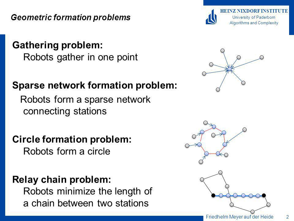 Friedhelm Meyer auf der Heide 2 HEINZ NIXDORF INSTITUTE University of Paderborn Algorithms and Complexity Gathering problem: Robots gather in one point Sparse network formation problem: Robots form a sparse network connecting stations Circle formation problem: Robots form a circle Relay chain problem: Robots minimize the length of a chain between two stations Geometric formation problems