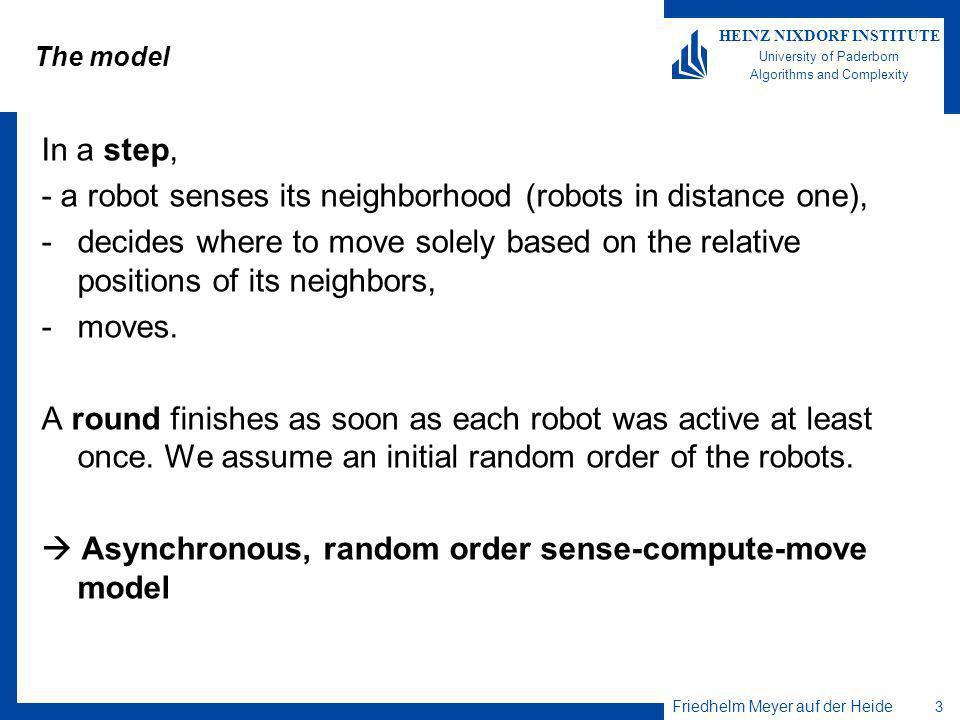 Friedhelm Meyer auf der Heide 3 HEINZ NIXDORF INSTITUTE University of Paderborn Algorithms and Complexity The model In a step, - a robot senses its ne