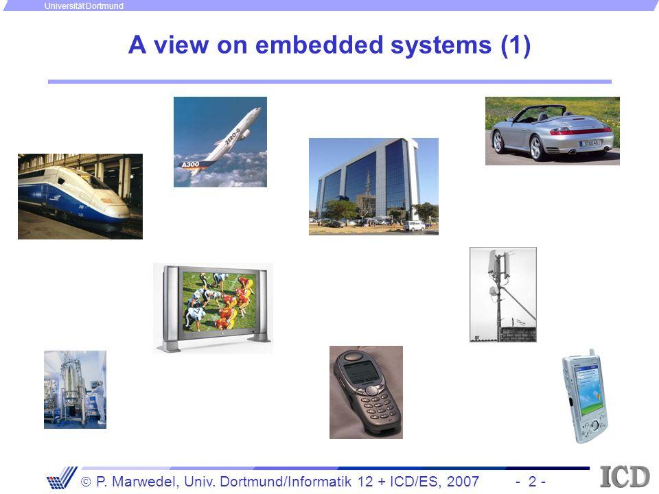 - 2 - P. Marwedel, Univ. Dortmund/Informatik 12 + ICD/ES, 2007 Universität Dortmund A view on embedded systems (1)