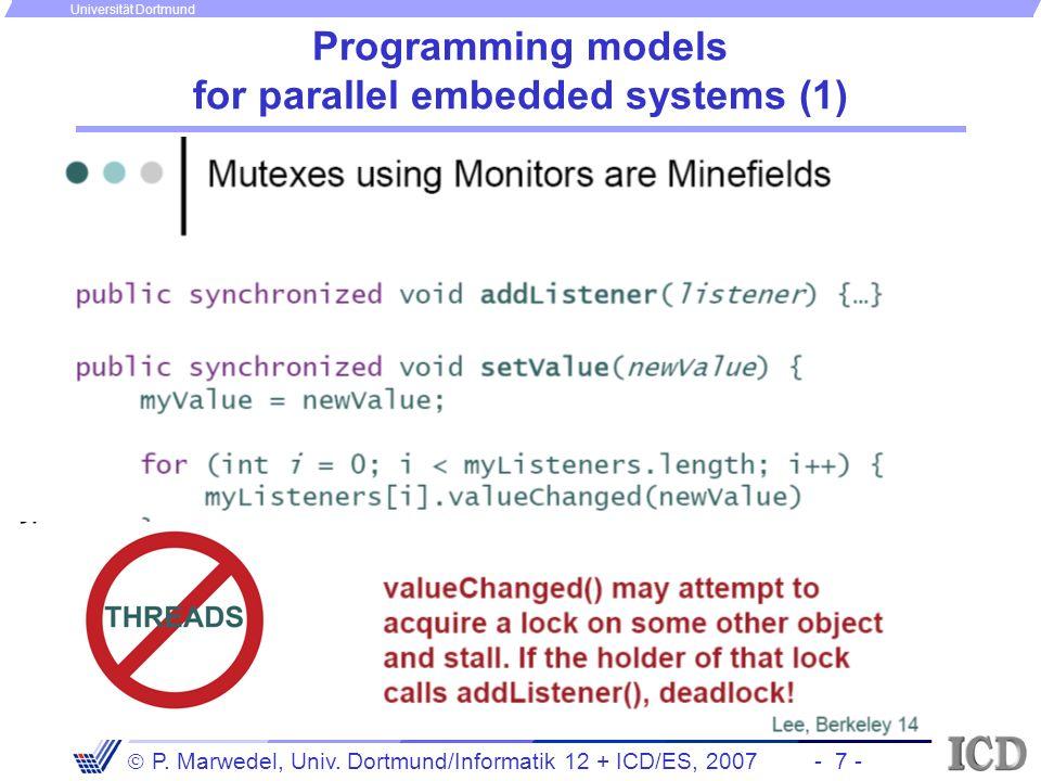 - 7 - P. Marwedel, Univ. Dortmund/Informatik 12 + ICD/ES, 2007 Universität Dortmund Programming models for parallel embedded systems (1)