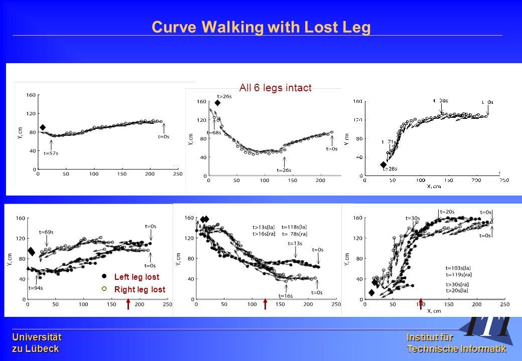 Universität zu Lübeck Institut für Technische Informatik Curve Walking with Lost Leg All 6 legs intact Left leg lost Right leg lost