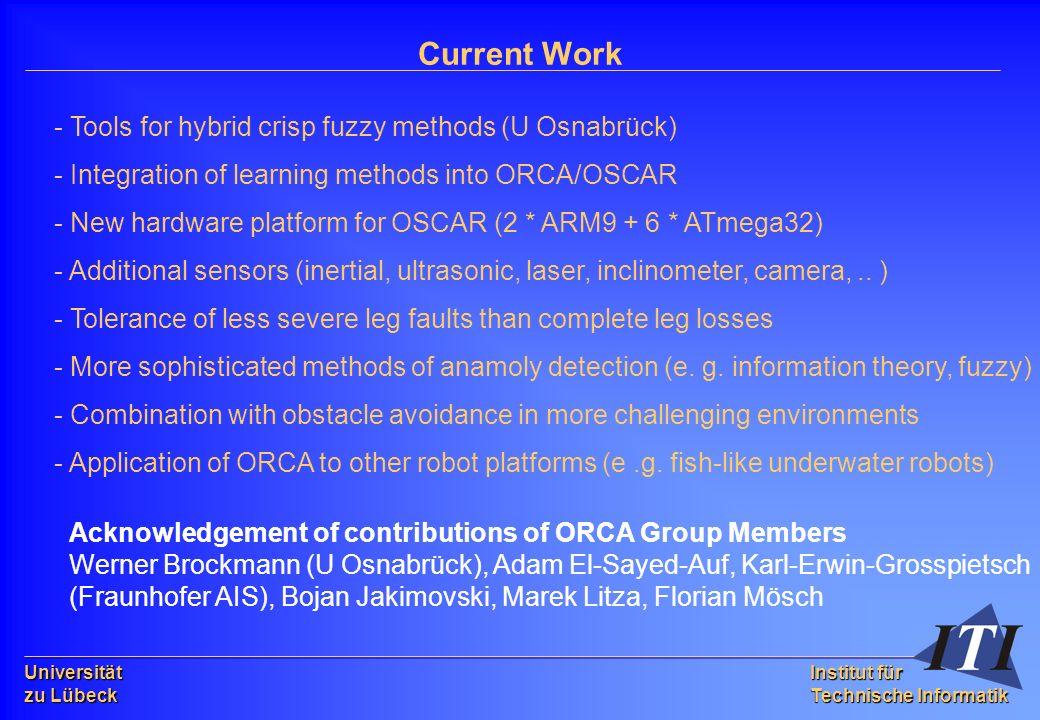 Universität zu Lübeck Institut für Technische Informatik Current Work - Tools for hybrid crisp fuzzy methods (U Osnabrück) - Integration of learning methods into ORCA/OSCAR - New hardware platform for OSCAR (2 * ARM9 + 6 * ATmega32) - Additional sensors (inertial, ultrasonic, laser, inclinometer, camera,..
