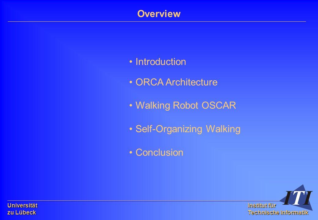 Universität zu Lübeck Institut für Technische Informatik Introduction ORCA Architecture Walking Robot OSCAR Self-Organizing Walking Conclusion Overview