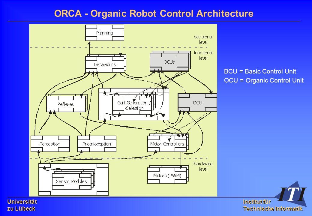 Universität zu Lübeck Institut für Technische Informatik ORCA - Organic Robot Control Architecture BCU = Basic Control Unit OCU = Organic Control Unit