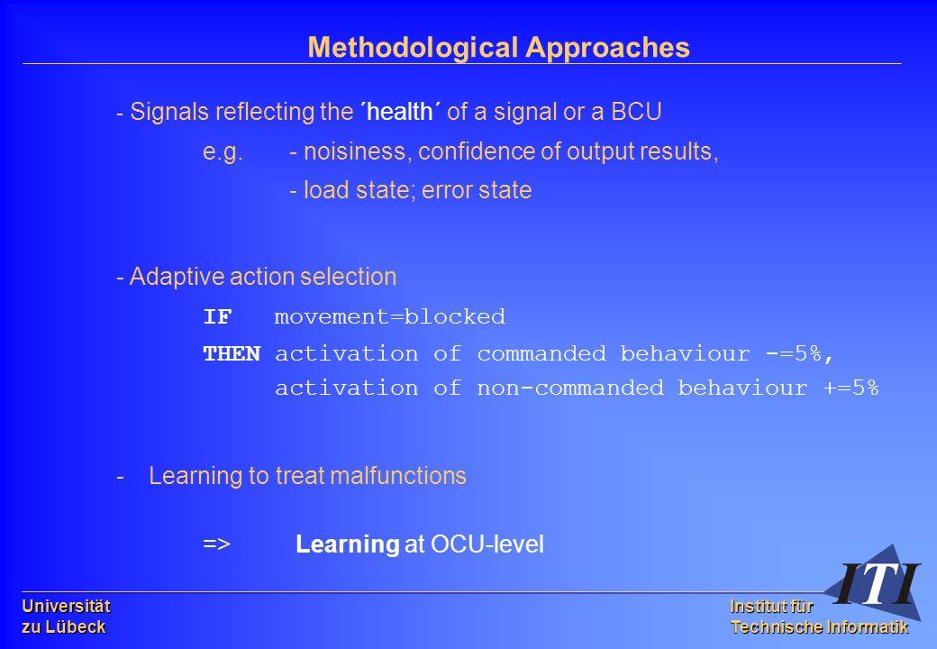 Universität zu Lübeck Institut für Technische Informatik Methodological Approaches - Signals reflecting the ´health´ of a signal or a BCU e.g.