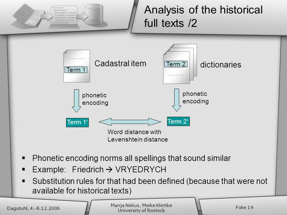 Dagstuhl, 4.-8.12.2006 Manja Nelius, Meike Klettke University of Rostock Folie 14 Analysis of the historical full texts /2 phonetic encoding Word dist