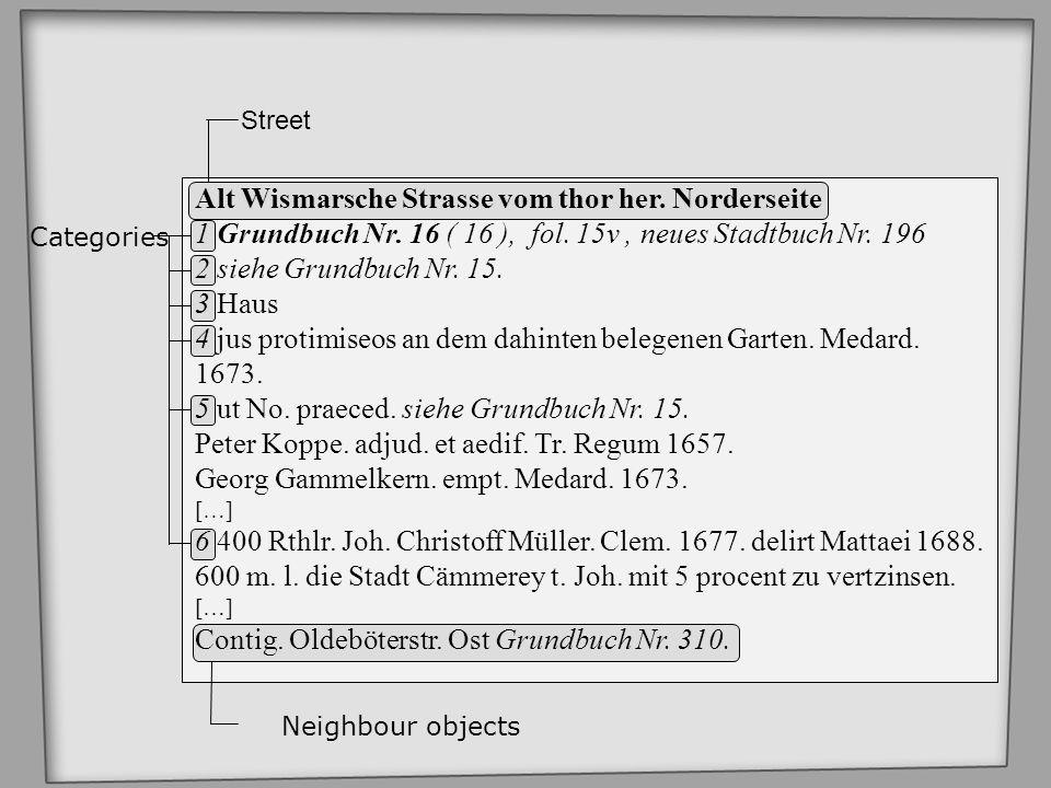 Street Categories Neighbour objects Alt Wismarsche Strasse vom thor her. Norderseite 1 Grundbuch Nr. 16 ( 16 ), fol. 15v, neues Stadtbuch Nr. 196 2 si