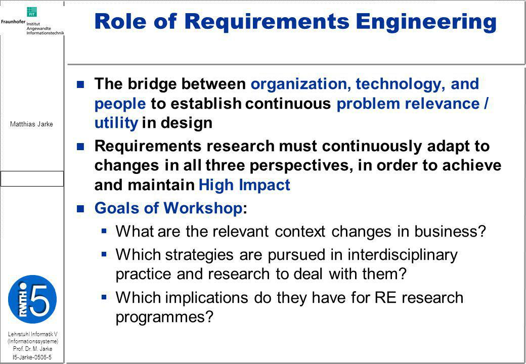 Lehrstuhl Informatik V (Informationssysteme) Prof. Dr. M. Jarke Matthias Jarke I5-Jarke-0506-5 Role of Requirements Engineering n The bridge between o