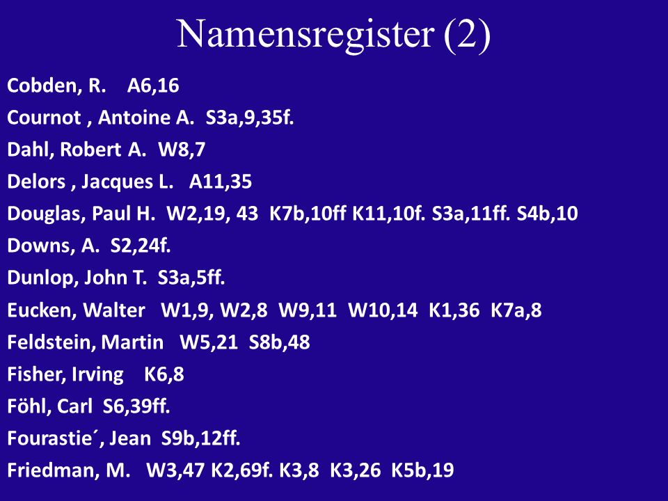 Namensregister (2) Cobden, R. A6,16 Cournot, Antoine A.