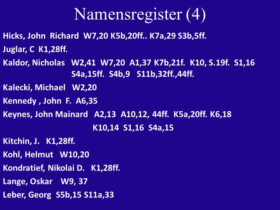 Namensregister (4) Hicks, John Richard W7,20 K5b,20ff..