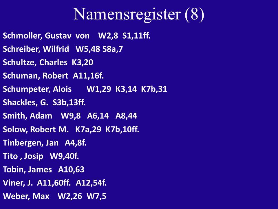 Namensregister (9) Weintraub, Sidney K6,31 K10,48 Weiser, Gerhard W2,26 S1,10ff.