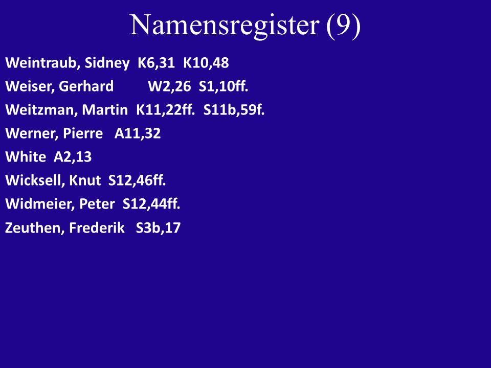 Namensregister (9) Weintraub, Sidney K6,31 K10,48 Weiser, Gerhard W2,26 S1,10ff. Weitzman, Martin K11,22ff. S11b,59f. Werner, Pierre A11,32 White A2,1