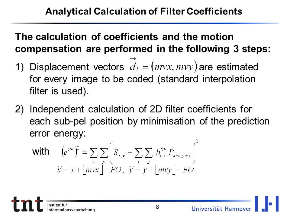 Institut für Informationsverarbeitung 8 Analytical Calculation of Filter Coefficients The calculation of coefficients and the motion compensation are