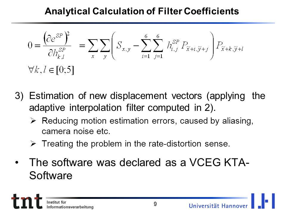 Institut für Informationsverarbeitung 9 Analytical Calculation of Filter Coefficients 3)Estimation of new displacement vectors (applying the adaptive