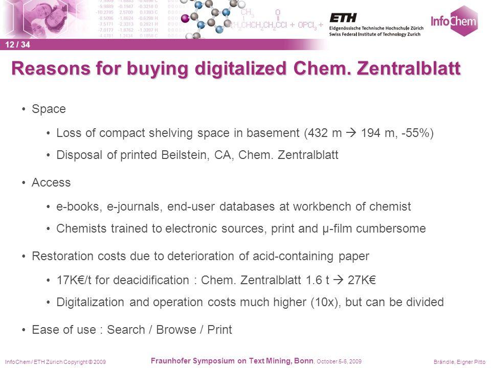 InfoChem / ETH Zürich Copyright © 2009Brändle, Eigner Pitto Fraunhofer Symposium on Text Mining, Bonn, October 5-6, 2009 Reasons for buying digitalize