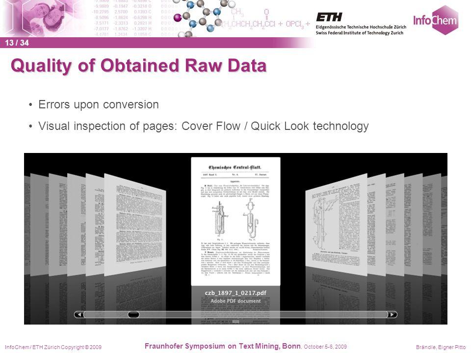 InfoChem / ETH Zürich Copyright © 2009Brändle, Eigner Pitto Fraunhofer Symposium on Text Mining, Bonn, October 5-6, 2009 Quality of Obtained Raw Data