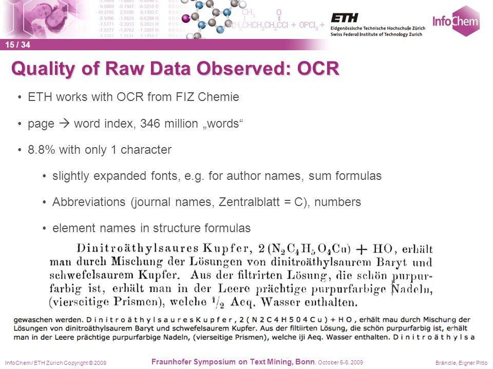InfoChem / ETH Zürich Copyright © 2009Brändle, Eigner Pitto Fraunhofer Symposium on Text Mining, Bonn, October 5-6, 2009 Quality of Raw Data Observed: