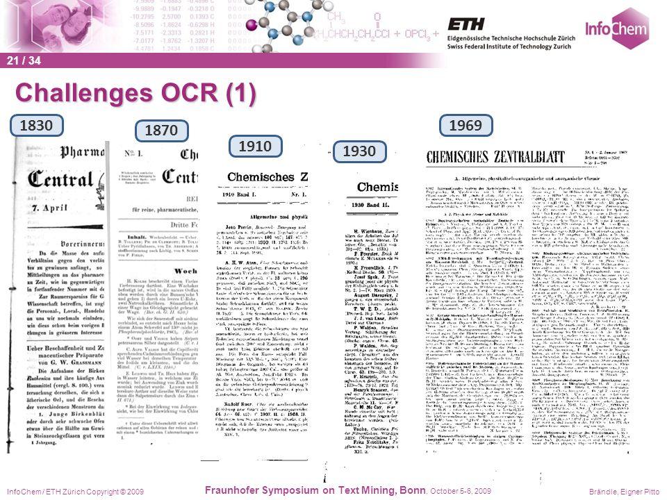 InfoChem / ETH Zürich Copyright © 2009Brändle, Eigner Pitto Fraunhofer Symposium on Text Mining, Bonn, October 5-6, 2009 1870 Challenges OCR (1) 1830