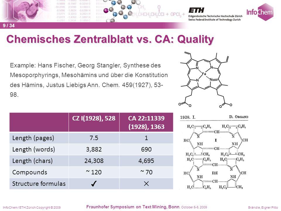InfoChem / ETH Zürich Copyright © 2009Brändle, Eigner Pitto Fraunhofer Symposium on Text Mining, Bonn, October 5-6, 2009 CZ I(1928), 528CA 22:11339 (1