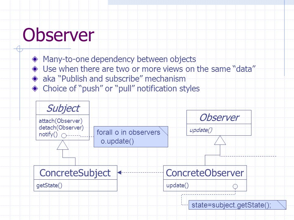 Observer Many-to-one dependency between objects Use when there are two or more views on the same data aka Publish and subscribe mechanism Choice of pu