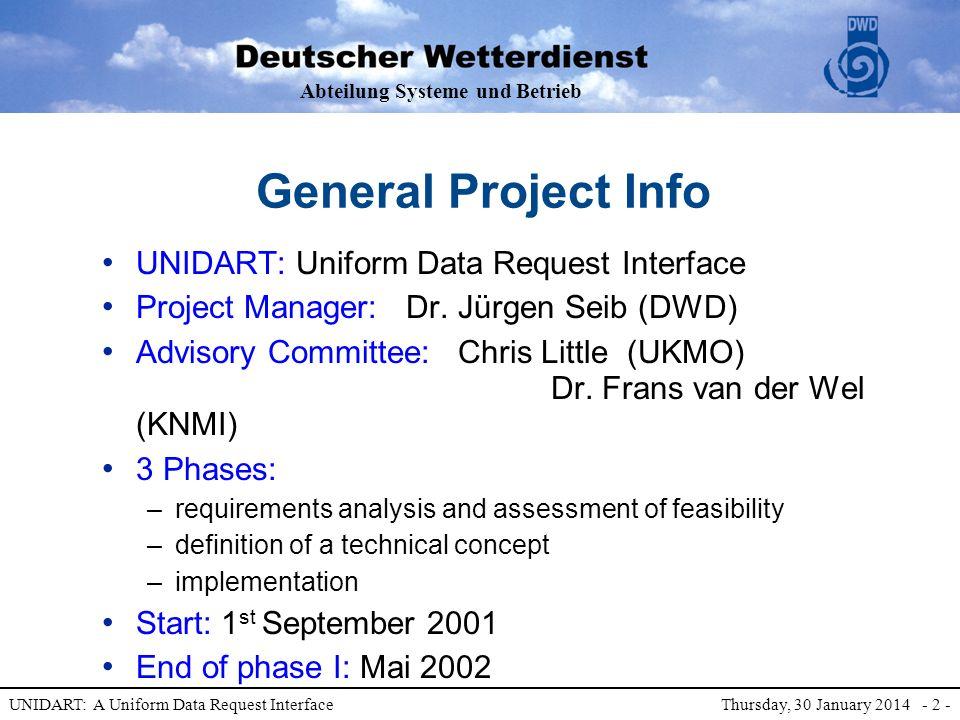 Abteilung Systeme und Betrieb UNIDART: A Uniform Data Request Interface Thursday, 30 January 2014 - 2 - General Project Info UNIDART: Uniform Data Request Interface Project Manager: Dr.
