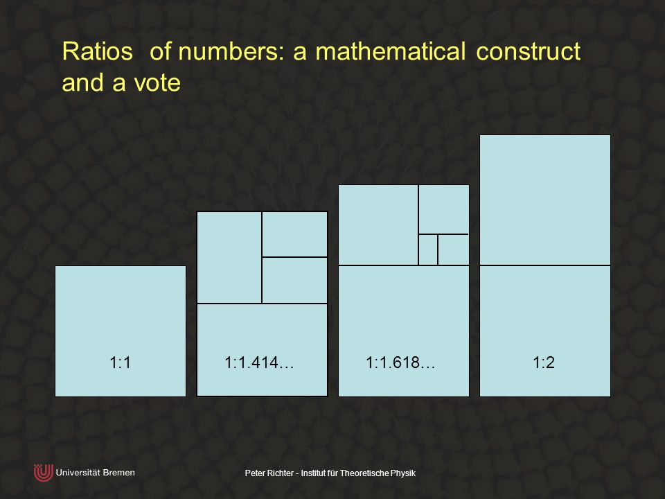 Peter Richter - Institut für Theoretische Physik Ratios of numbers: a mathematical construct and a vote 1:11:1.414…1:1.618…1:2