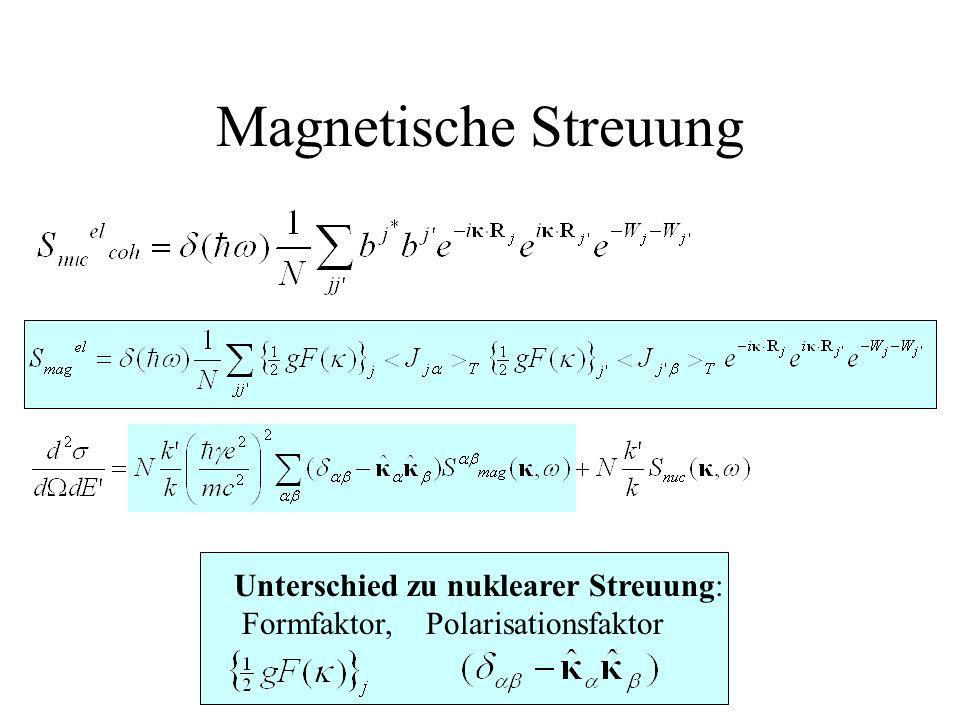 Magnetische Streuung Unterschied zu nuklearer Streuung: Formfaktor, Polarisationsfaktor