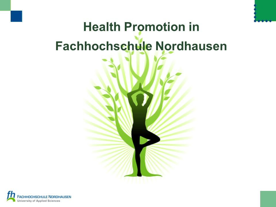 Health Promotion in Fachhochschule Nordhausen openingdefinitionfacts results 12 Survey: feelings about the own weight 46,3% about the right weight 26% too heavy 7,4% too light 20,3% not sure