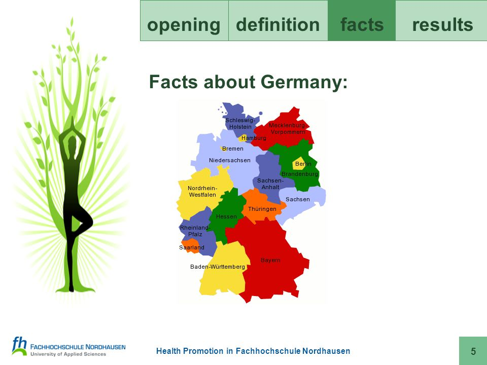 Health Promotion in Fachhochschule Nordhausen openingdefinitionfacts results 16 Health aspects at our FH: