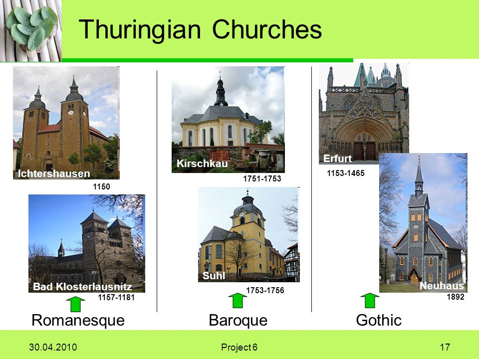 Project 617 Thuringian Churches Ichtershausen 1150 Bad Klosterlausnitz Romanesque Erfurt Neuhaus 1892 Gothic Kirschkau Suhl Baroque