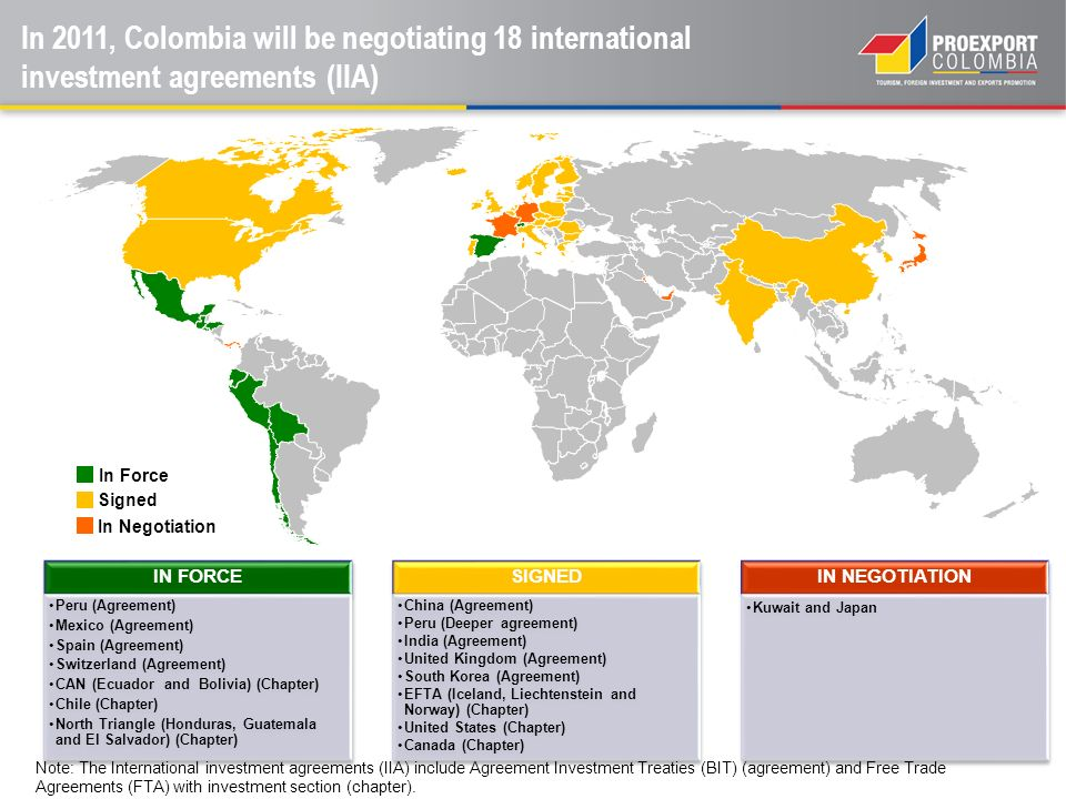IN FORCE Peru (Agreement) Mexico (Agreement) Spain (Agreement) Switzerland (Agreement) CAN (Ecuador and Bolivia) (Chapter) Chile (Chapter) North Trian