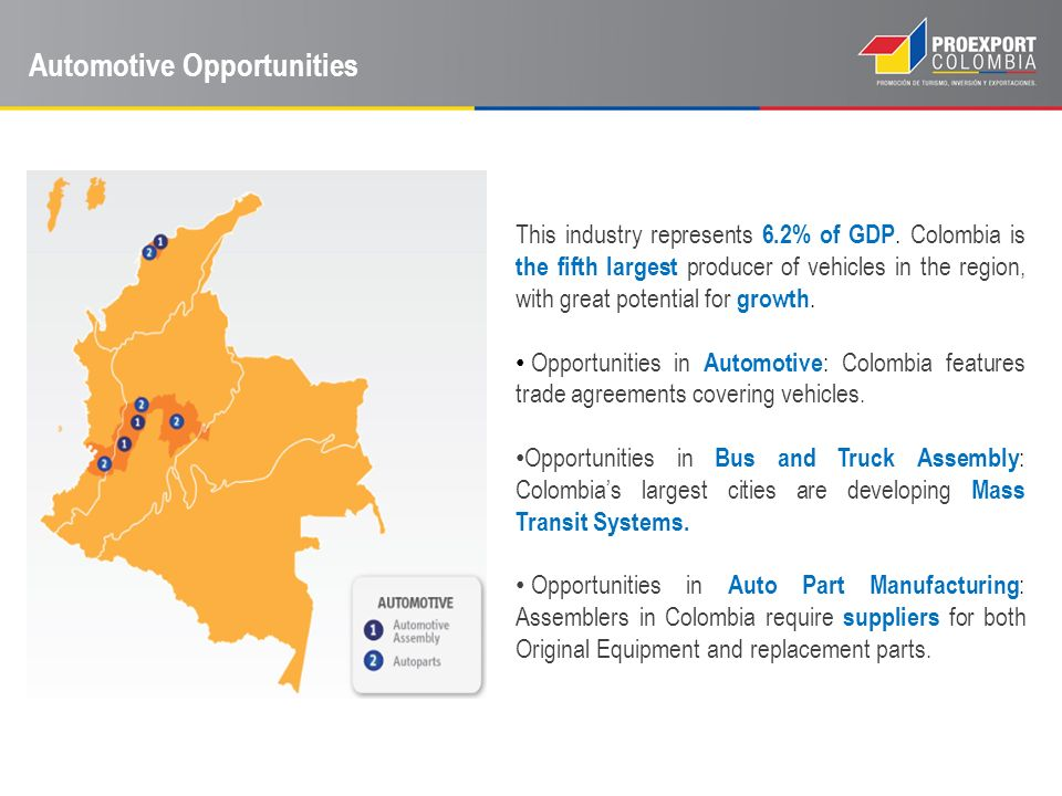 Automotive Opportunities This industry represents 6.2% of GDP. Colombia is the fifth largest producer of vehicles in the region, with great potential