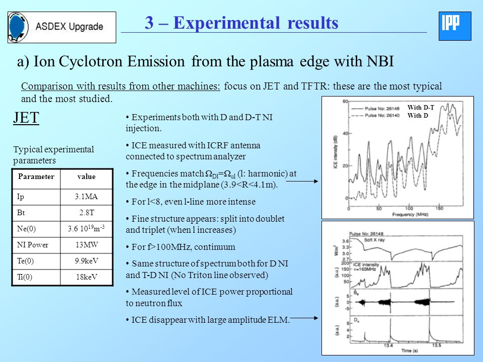 3 – Experimental results a) Ion Cyclotron Emission from the plasma edge with NBI Comparison with results from other machines: focus on JET and TFTR: these are the most typical and the most studied.