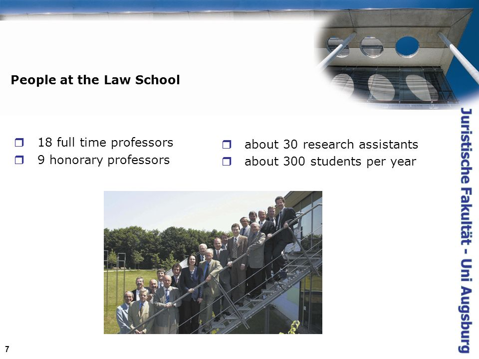 7 People at the Law School 18 full time professors 9 honorary professors about 30 research assistants about 300 students per year