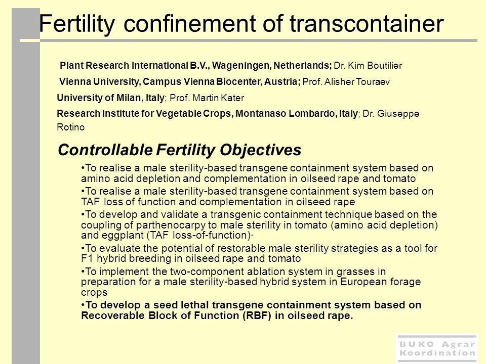 Fertility confinement of transcontainer Plant Research International B.V., Wageningen, Netherlands; Dr. Kim Boutilier Vienna University, Campus Vienna