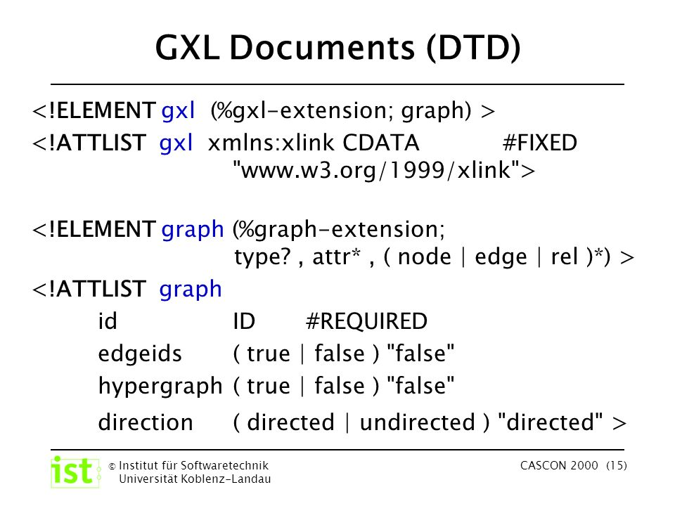 © Institut für Softwaretechnik Universität Koblenz-Landau CASCON 2000 (15) GXL Documents (DTD) <!ATTLIST graph id ID #REQUIRED edgeids ( true | false ) false hypergraph ( true | false ) false direction ( directed | undirected ) directed >